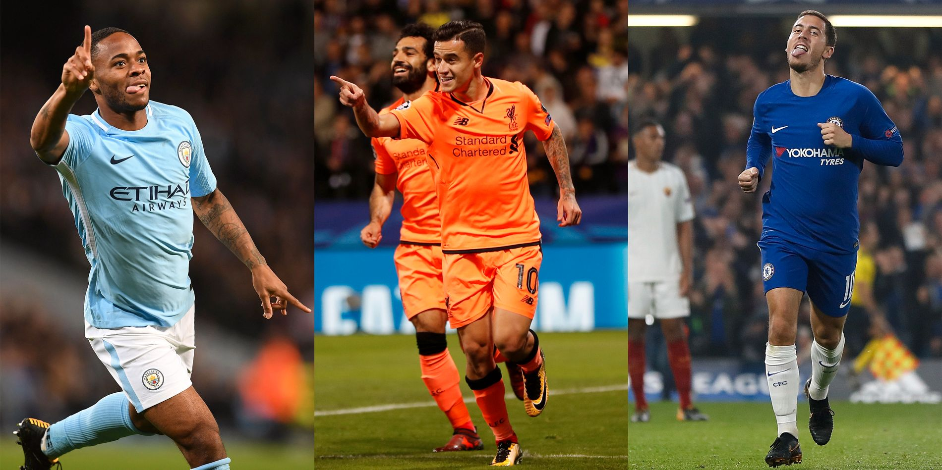 BRITISK GLEDE: Raheem Sterling feirer scoring mot Napoli tirsdag, Phillipe Coutinho etter ett av Liverpools syv mål mot Maribor onsdag og Eden Hazard etter å ha sendt Chelsea ajour 3-3 mot Roma onsdag.