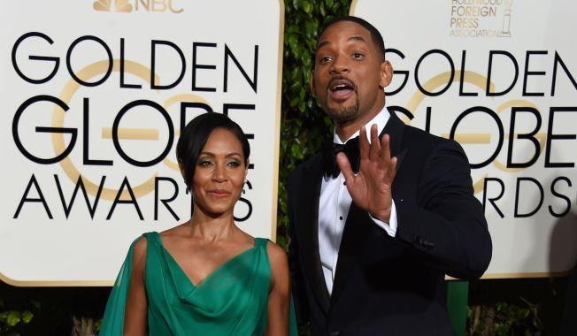 EKTEPAR: Jada Pinkett Smith vil boikotte Oscar-utdelingen. Her sammen med Will Smith under årets Golden Globe.