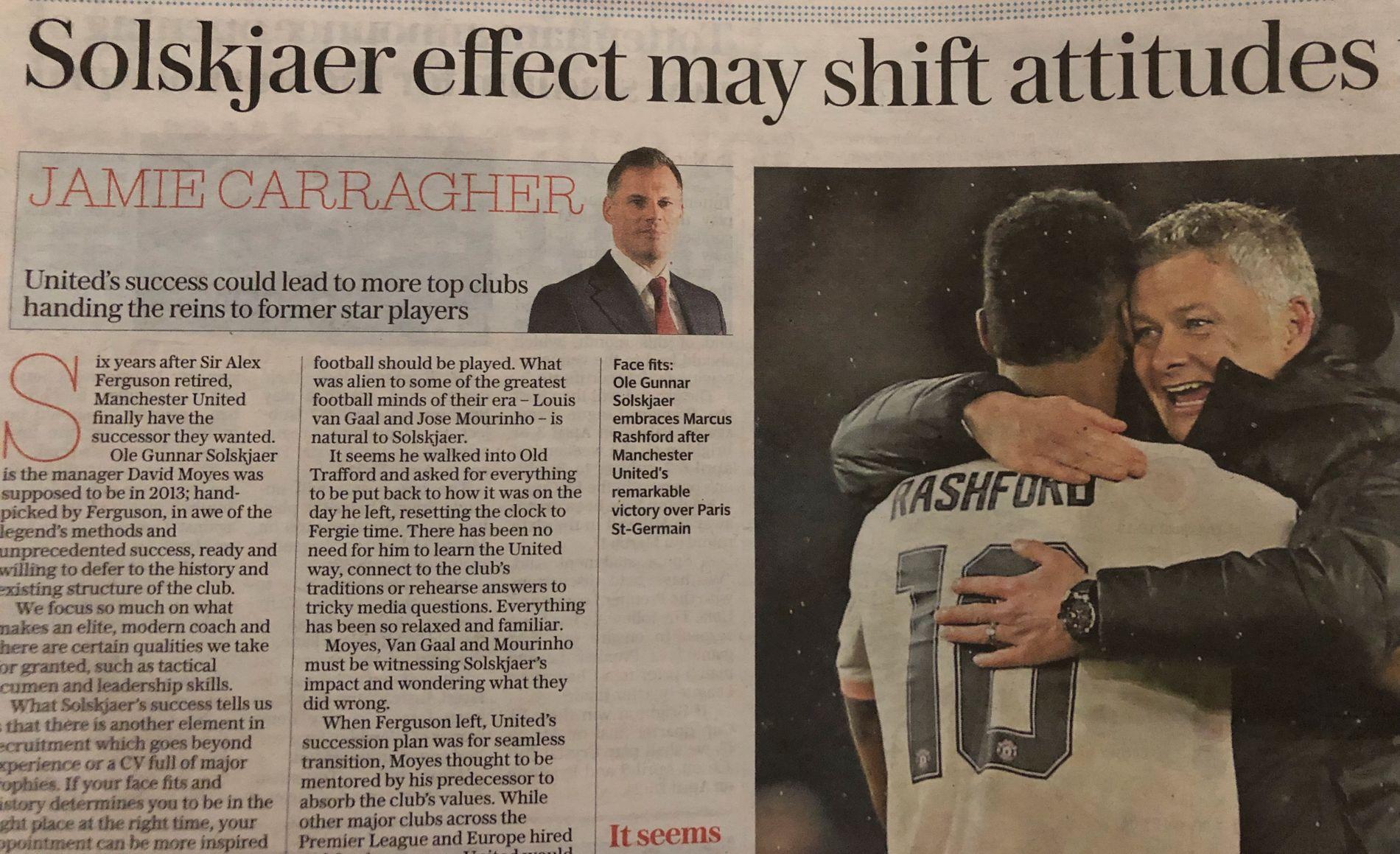 CARRA-ROS: Jamie Carragher i Telegraph beundrer jobben Solskjær har gjort.