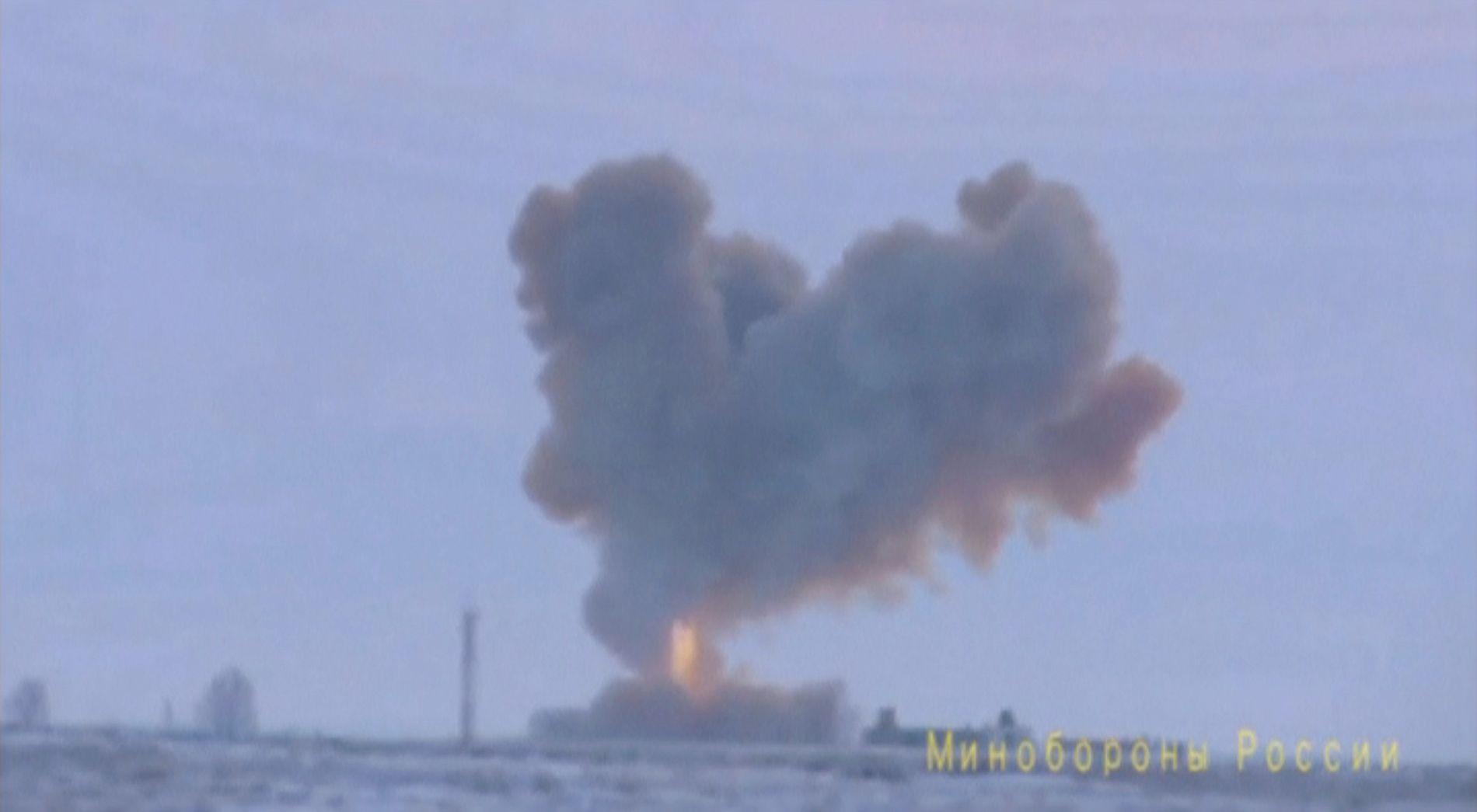 ATOMVÅPEN: Russlands forsvarsdepartement slapp onsdag den 26. desember en video av en test av det nye missilsystemet «Avantgard»
