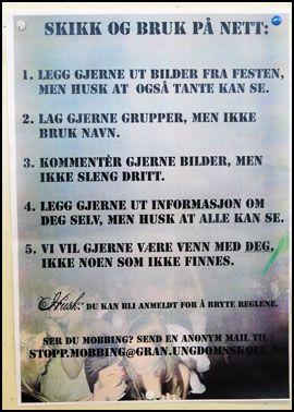 NETTVETT: Elevenes regler for hva som er greit og ikke. Foto: Nils Bjåland