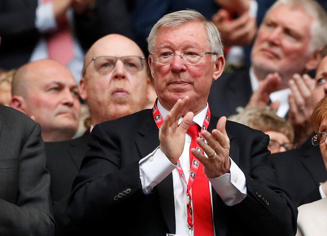 PÅ KAMP I APRIL: Sir Alex Ferguson var på fotballkamp på Wembley 21. april og så Tottenham-Manchester United. Det var kort tid før hjerneblødningen.