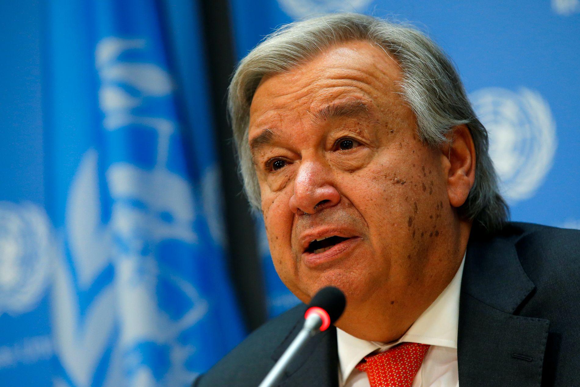 ALVORLIG: FNs generalsekretær António Guterres advarer mot etnisk rensing i Rakhine-provinsen i Myanmar. Foto: REUTERS / MIKE SEGAR