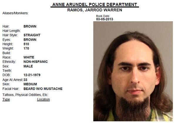 PÅGREPET: Jarrod W. Ramos skal være pågrepet for det dødelige angrepet mot en avis i Maryland torsdag. Bildet er et politibilde tatt i 2013.