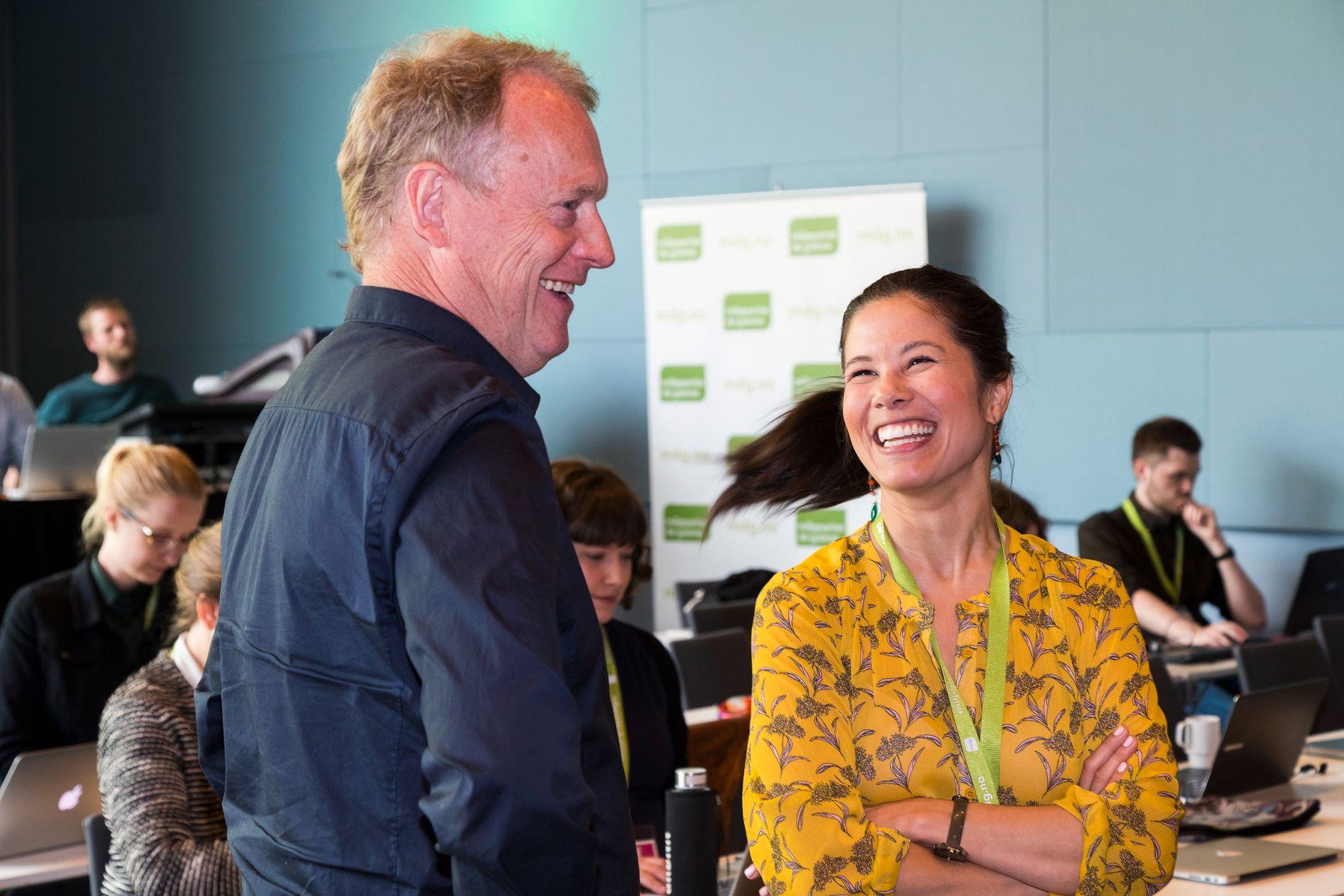 GOD KJEMI: Byrådsleder Raymond Johansen (Ap) og samferdselsbyråd Lan Marie Nguyen Berg (MDG) har vært Oslobyrådets fremste talspersoner i bompengedebatten.