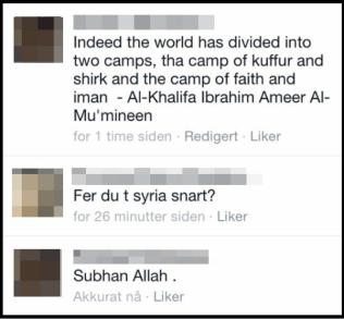 """TODELT VERDEN: På Facebook skrev mannen i 30-årene at verden er delt mellom de vantro (""""kuffar"""") og de troende."""