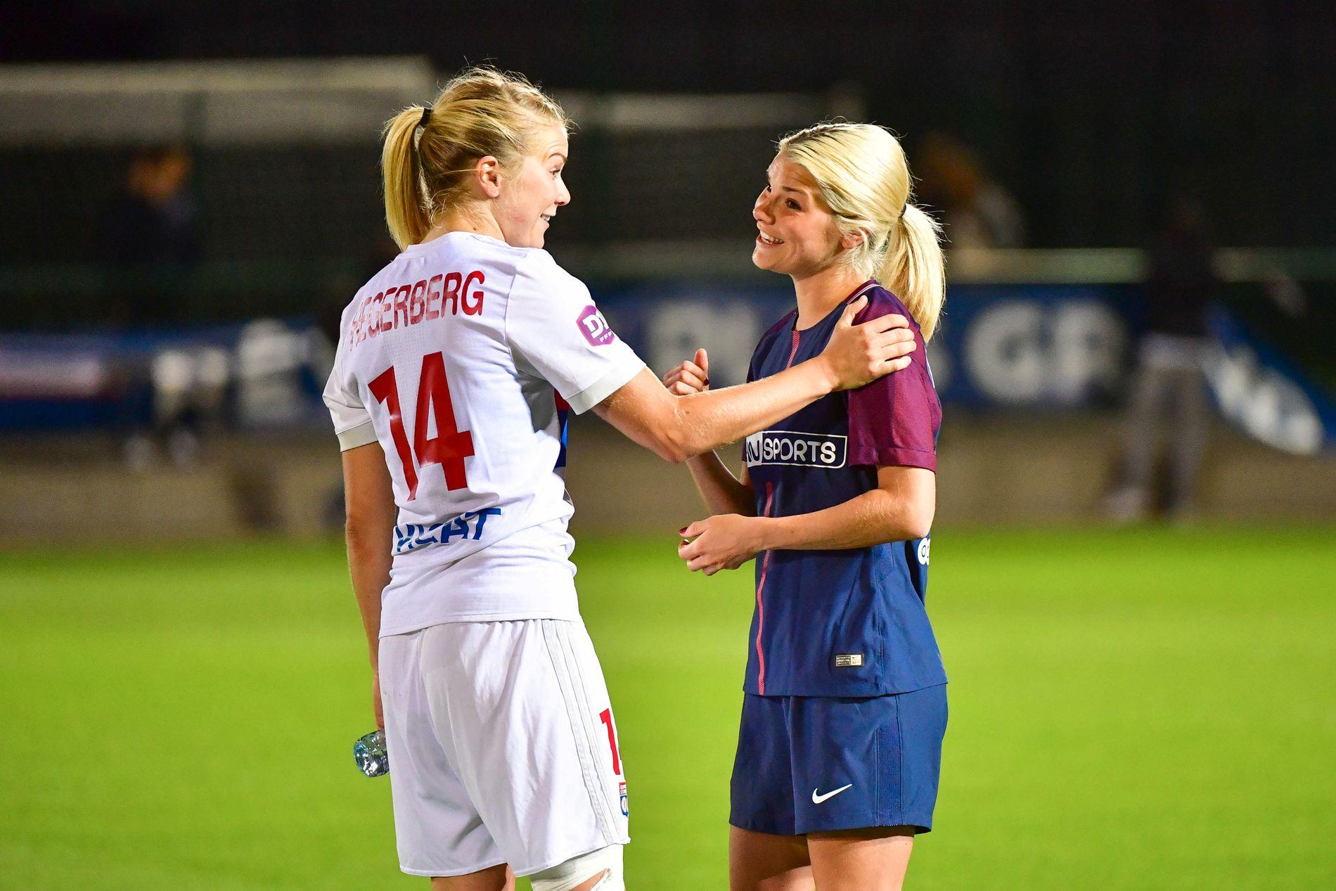 INGEN DUELL: Cupfinalen skulle bli en norsk duell, men Andrine Hegerberg (til høyre) ble på benken hos PSG. Her fra seriemøtet for et par uker siden, da Andrine kom inn mot slutten av kampen.