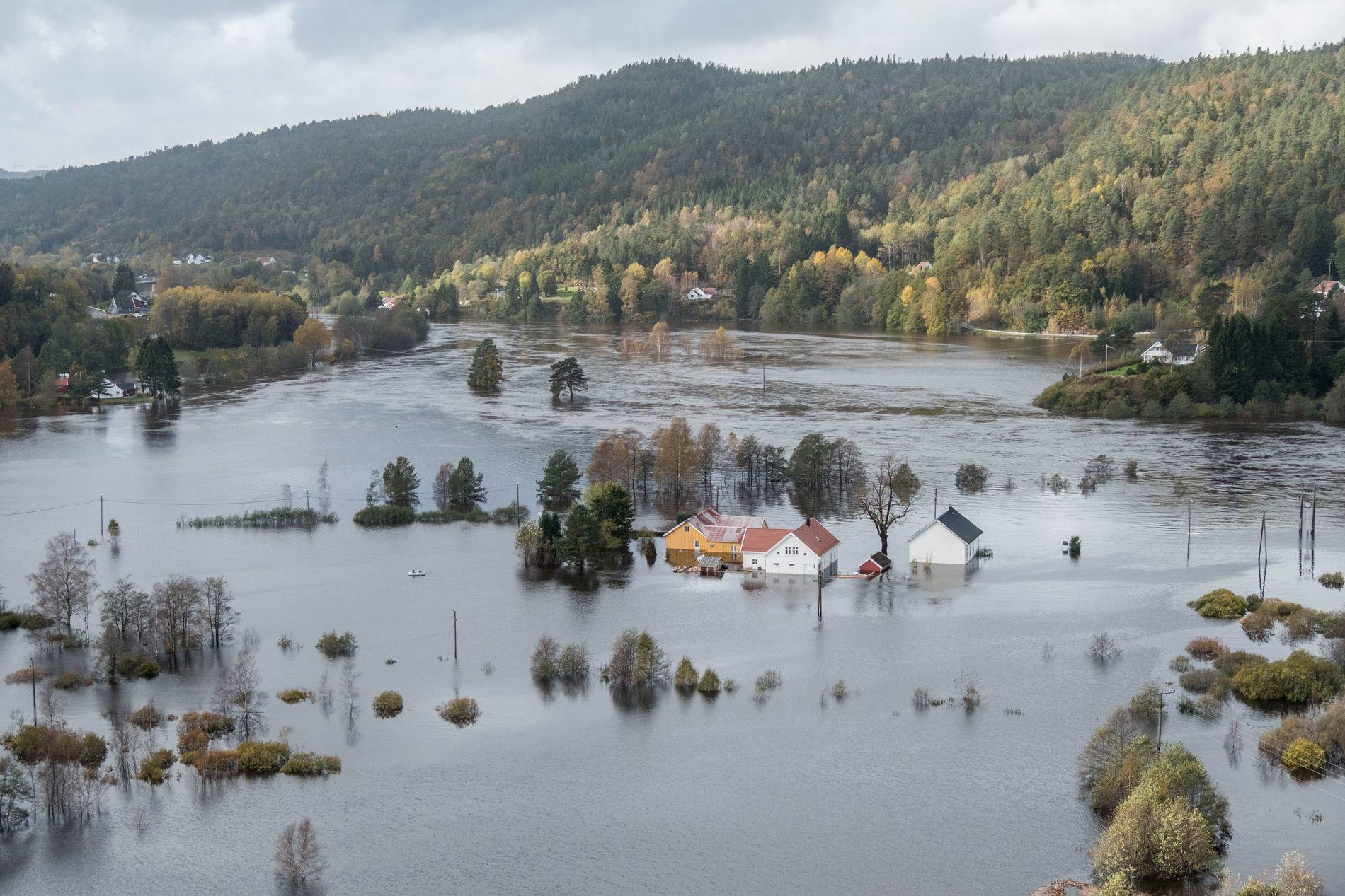 FLOMTOPP MANDAG: Slik så det ut ved Topdalselva, som gikk over sine bredder mandag. Vannet står høyt ved Drangsholt mellom Kristiansand og Birkeland. Foto: Tor Erik Schrøder / NTB scanpix