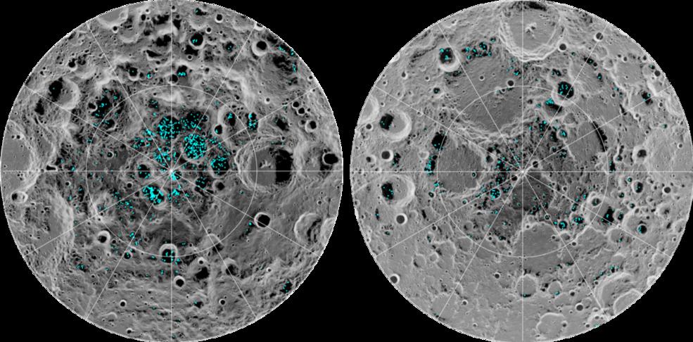 FUNNET IS: Bildet viser isen på månens sørpol (t.v.) og månens nordpol (t.h.). De blå områdene er is.