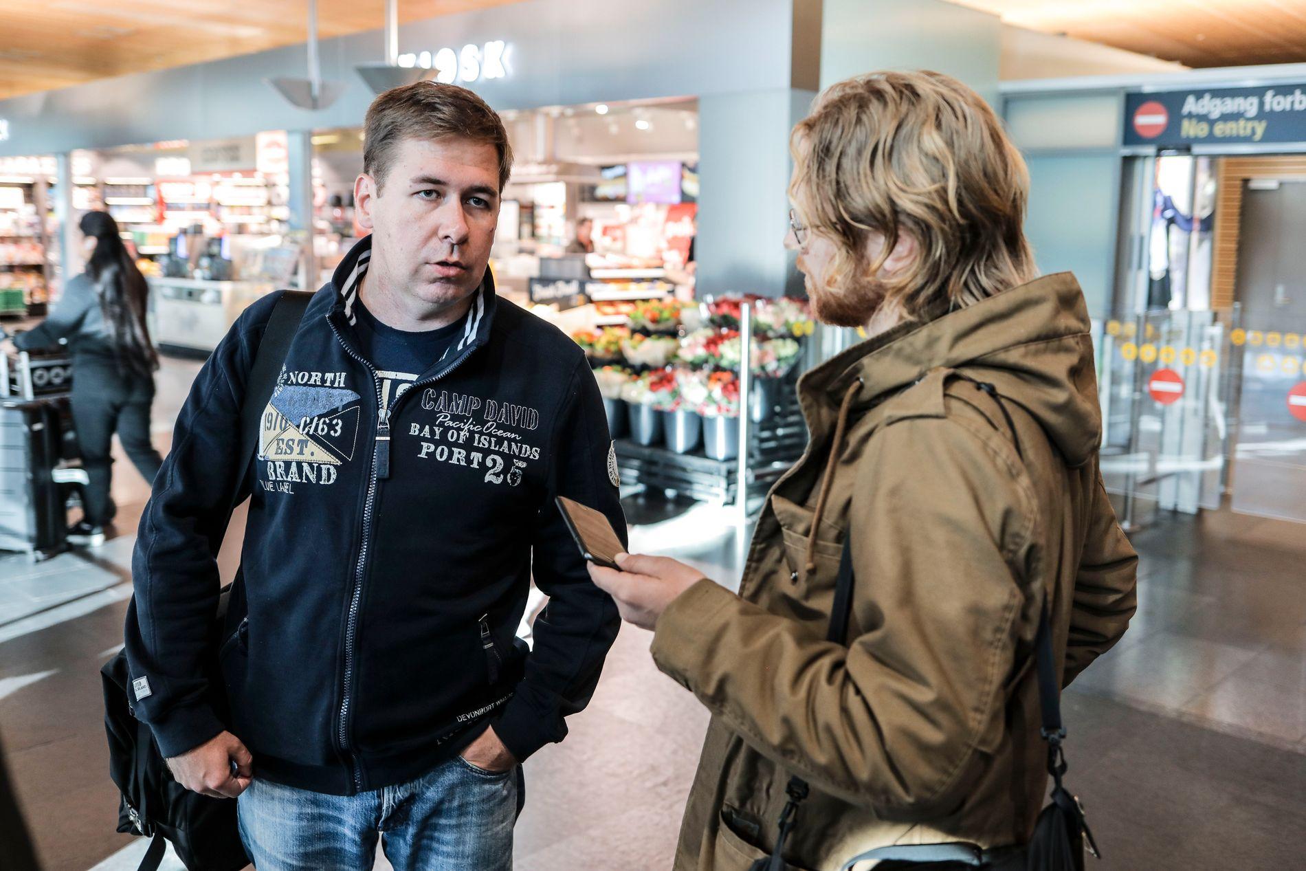 PÅ GARDERMOEN: Frode Bergs russiske forsvarer Ilja Novikov kom til Norge onsdag ettermiddag.