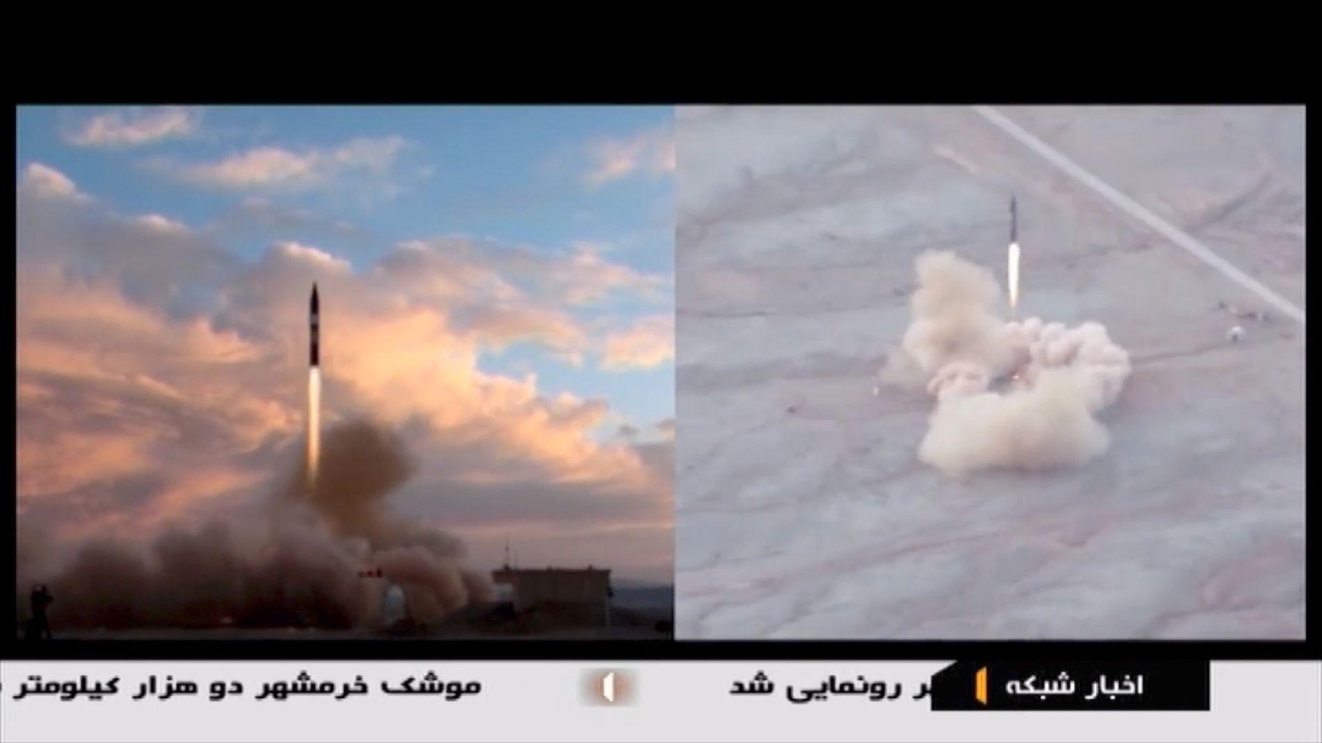 OPPSKYTING: Missilet skytes opp fra et øde område i Iran.