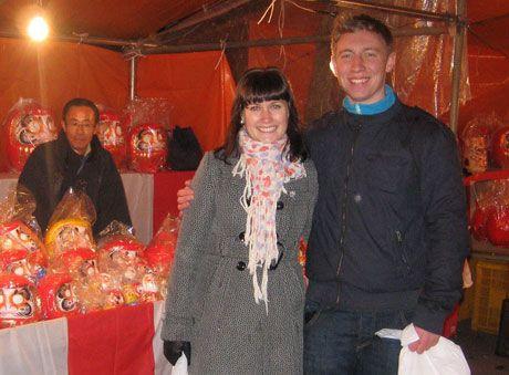OPPLEVDE SKJELVET: Lena Vigre (24)og kjæresten André Brandt (26) studerer i Japan, og opplevde jordskjelvet. Foto: PRIVAT