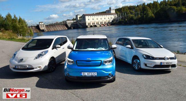 Populære som nye og populære som bruktimporterte: Nissan Leaf, Kia Soul og VW Golf.