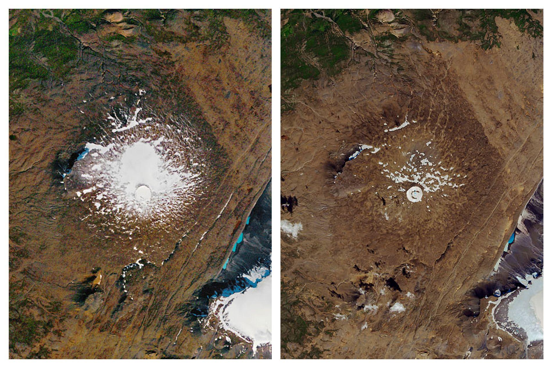 SMELTET: Bildene er fra henholdsvis 1986 og 2019, og viser forskjellen på området som tidligere utgjorde Okjökull på Island.