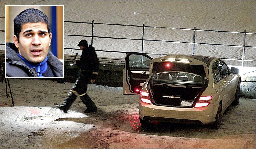 SKUTT I BILEN: Imran Saber ble skutt mot mens han satt i bilen sin ved Jordal skole i Oslo søndag kveld. Flere skudd ble løsnet da han skal ha prøvd å flykte. Foto: Trond Solberg