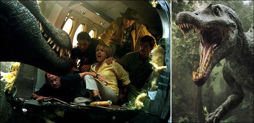 KLASSIKERE: Her er scener fra «Jurassic Park III» i 2001, hvor Sam Neill, William H. Macy, Tea Leoni, Alessandro Nivola og Trevor Morgan spilte. Foto: Universal Pictures
