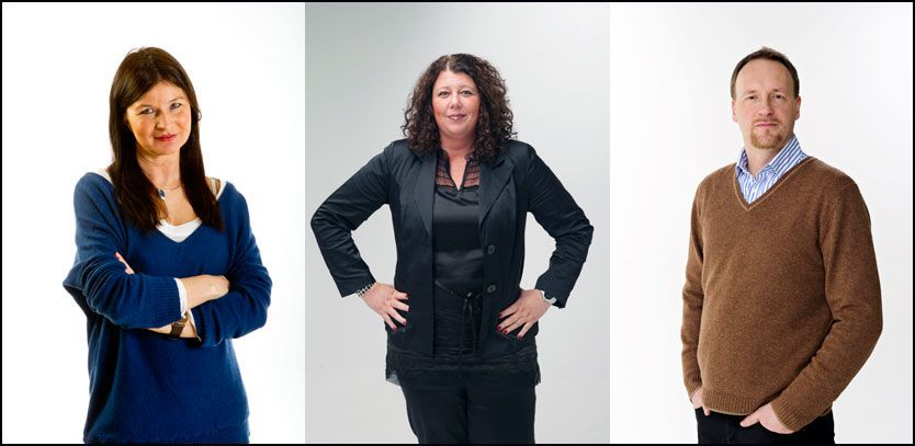 MOBBEEKSPERTER: Fra venstre, Tove Flack, Kristin Oudmayer og Stian Lindbøl. Foto: Magnar Kirkenes, Kristian Helgesen, Hugo Bergsaker
