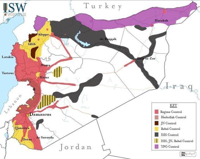 SLIK ER KRIGEN. JN= Jabath al-Nusra. Rebels= En sammenstilling av opprørsgrupper som kjemper mot Assad.