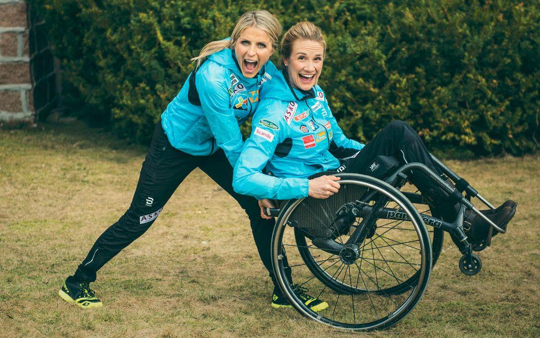 VENNER OG SAMARBEIDSPARTNERE etter: Therese Johaug og Birgit Skarstein jobber sammen med en hel del andre idrettspersonligheter om å løfte handikapidretten. Men ideen kom fra Kjell Inge Røkke og Johaug.