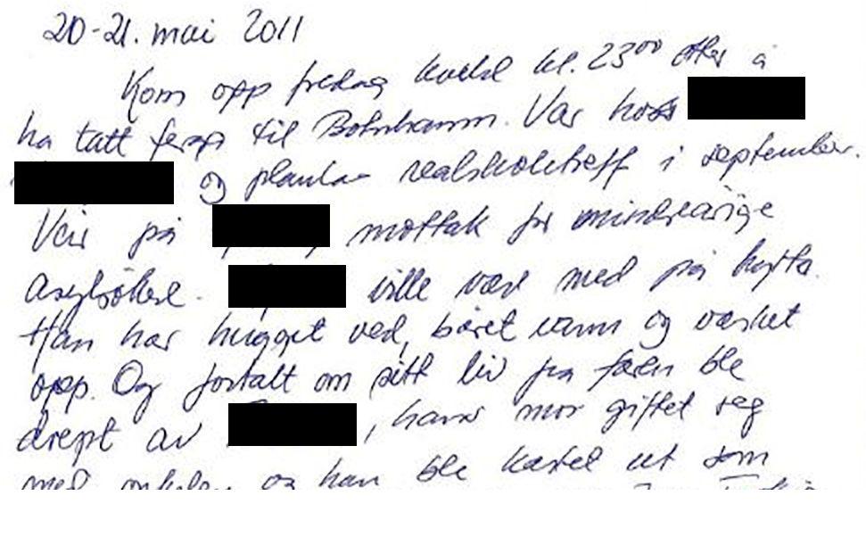 HYTTEBOK: Ludvigsen har skrevet flere innlegg i hytteboka om 25-åringen. Fornærmede har også selv skrevet i boka.