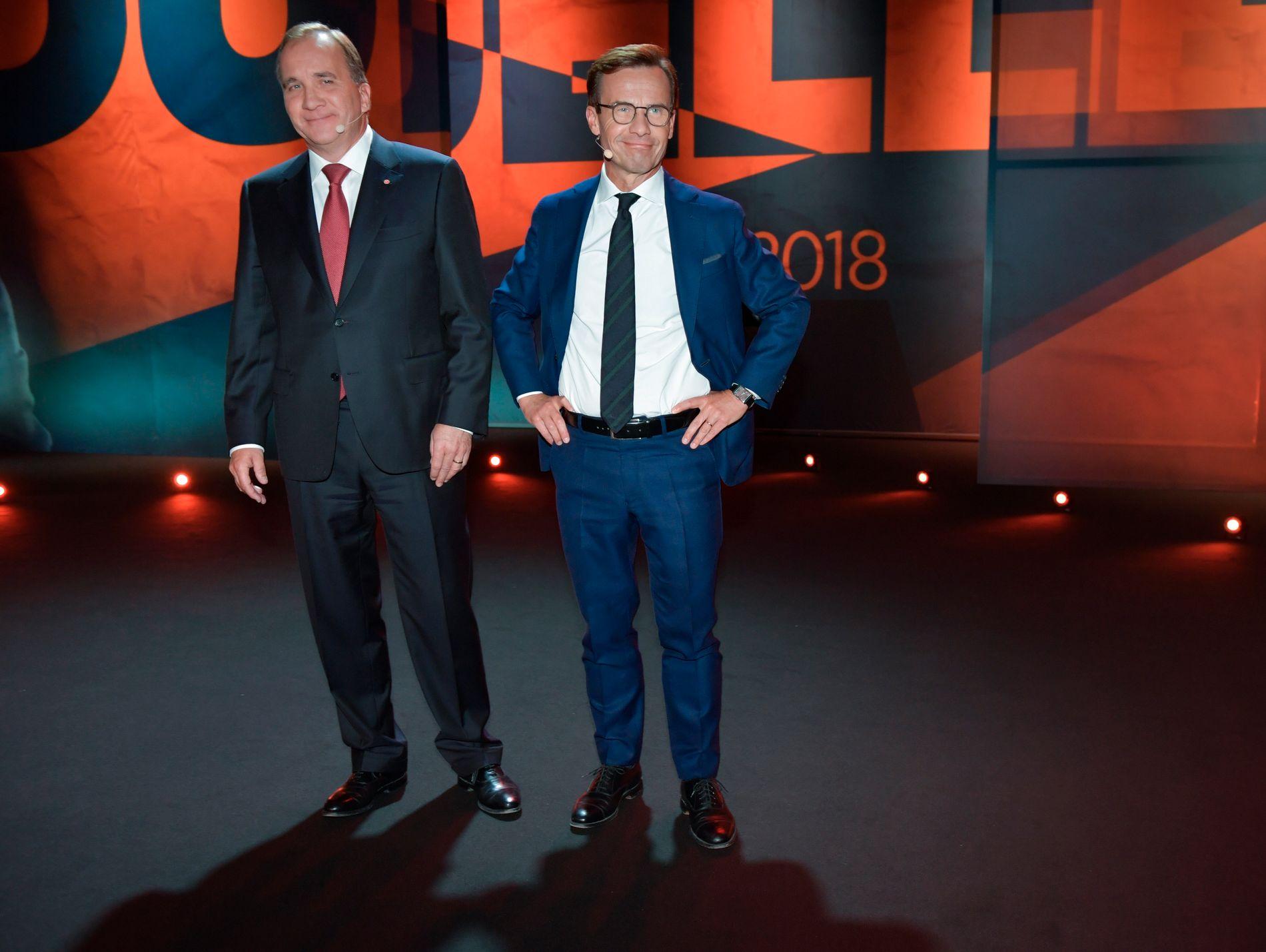 INVITERER: Moderaternas partileder Ulf Kristersson (til høyre) vil i dialog med Socialdemokraternas partileder Stefan Löfven om regjeringsspørsmålet.