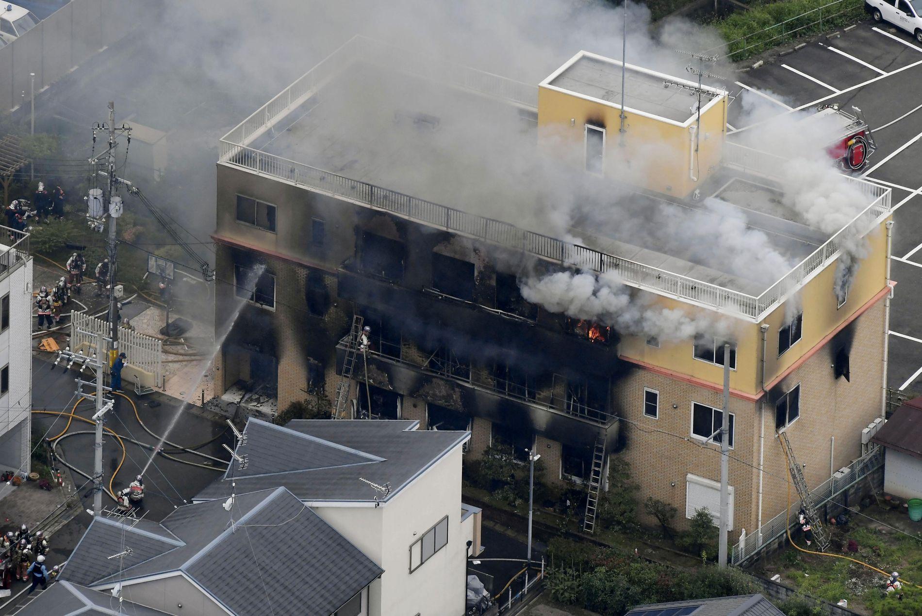STORBRANN: Kyoto Animation sto i flammer torsdag formiddag, lokal tid.