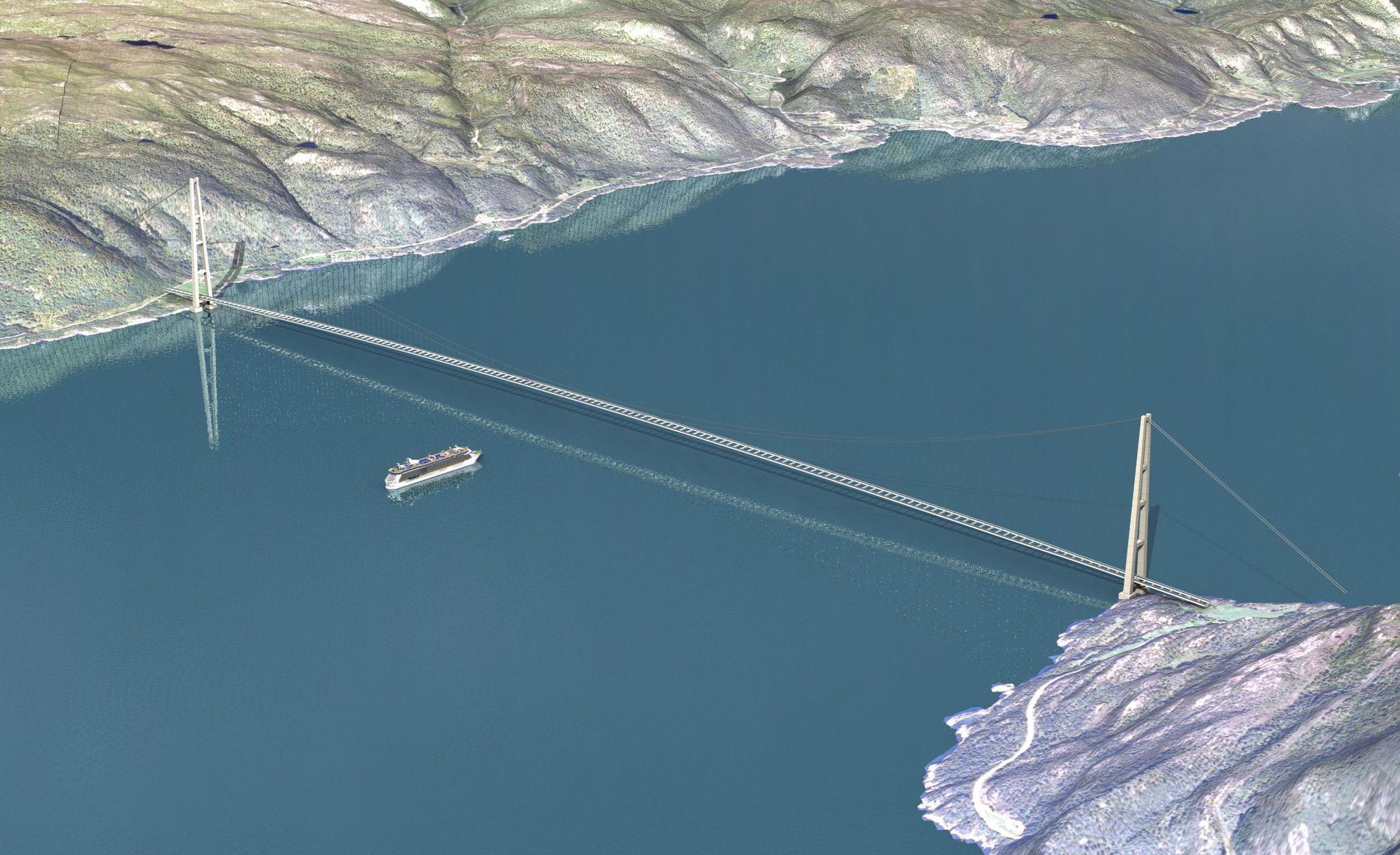 HELLER FERGER? Selvkjørende ferger med hyppige avganger og døgndrift kan være løsningen i stedet for kompliserte og kostbare fjordkrysninger. Her en tegning fra 2013 av en påtenkt 3700 meter lang bro over Sognefjorden.