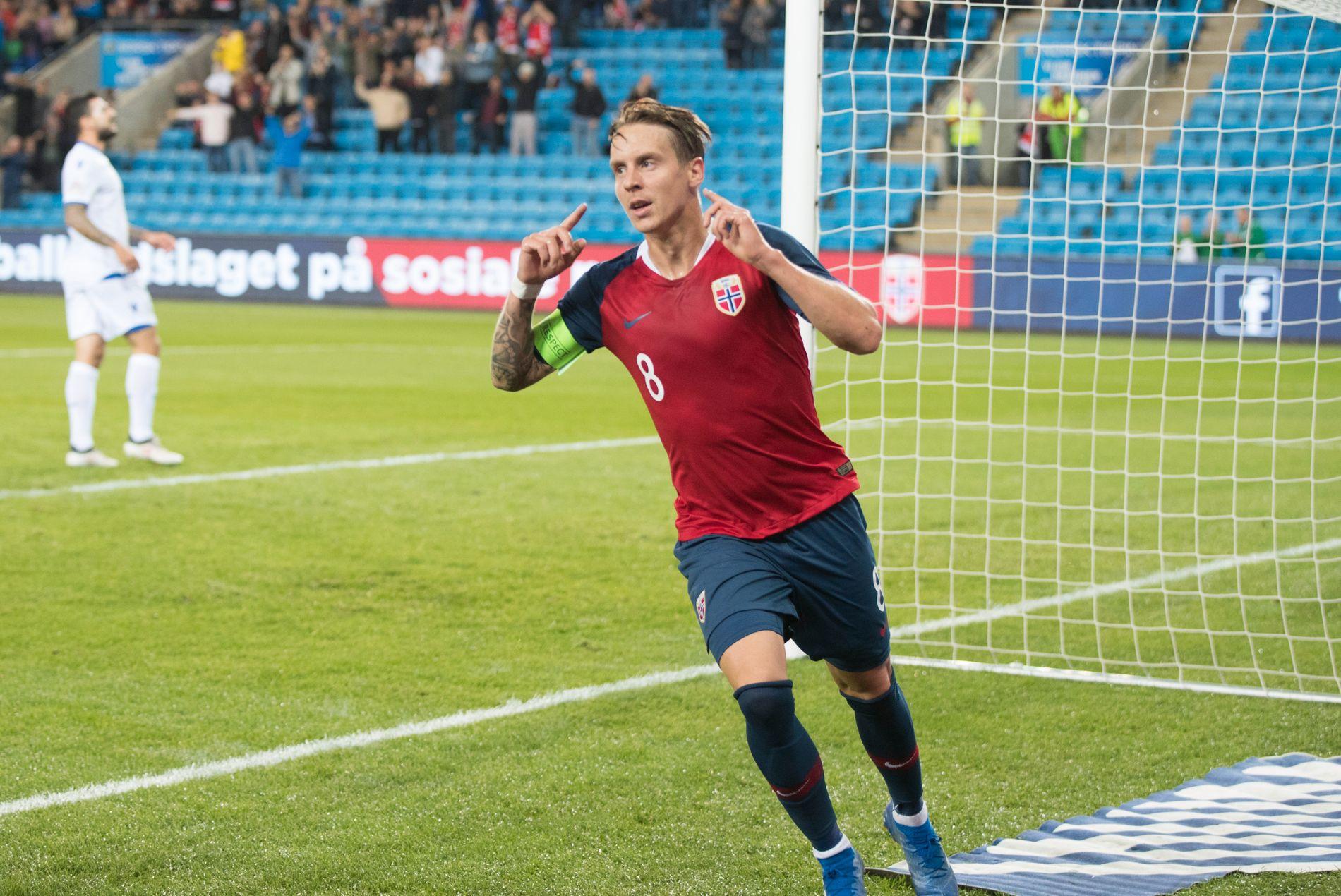 MARKERTE: Tomålsscorer og kaptein, Stefan Johansen, mot Kypros på Ullevaal torsdag kveld.