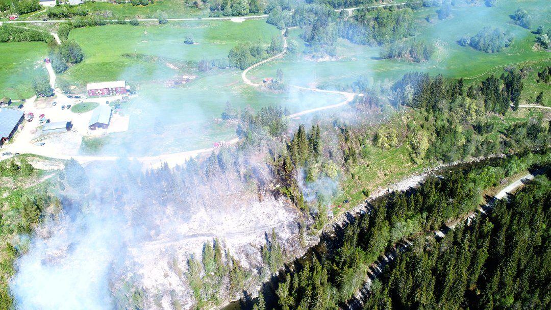 FULL FYR: Skogbrannen nærmet seg bygninger, men nødsentralen forteller at de fikk situasjonen under kontroll.
