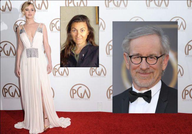 KOMMENDE FILM: Jennifer Lawrence, her under Producers Guild of America-prisutdelingen i år, skal angivelig portrettere fotojournalist Lynsey Addario (innfelt på dagen hun ble løslatt fra libysk fangenskap i mars 2011), under Steven Spielbergs (t.h.) regi.