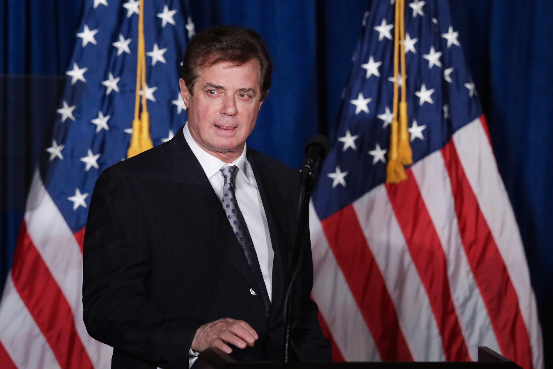 ANGA SEG SELV: Tidligere kampanjesjef for Donald Trumps valgkamp, Paul Manafort, ble mandag siktet i forbindelse med FBIs etterforskning av russiske myndigheters bånd til Trump-kampanjen.