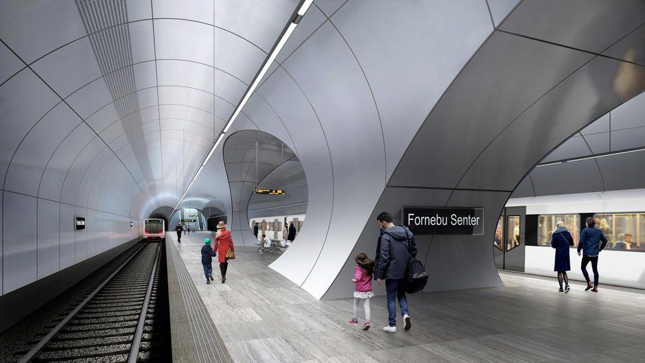FORNEBU STASJON: En av åtte planlagte stasjoner på Fornebubanen, tegnet av Zaha Hadid arkitekter og A-lab.