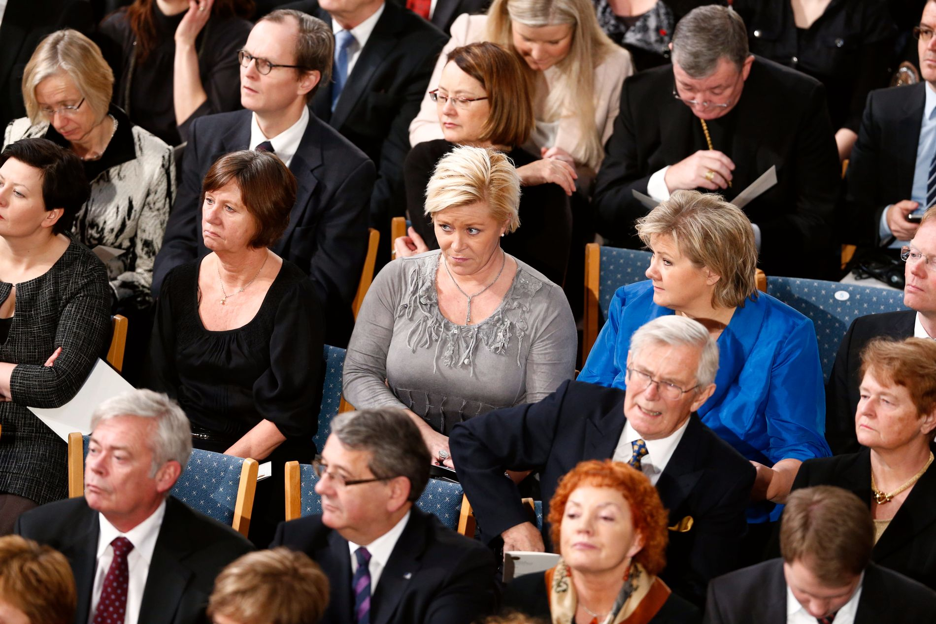 Siv Jensen, Erna Solberg og Gro Harlem Brundtland fra utdelingen av Nobels fredspris i 2012.