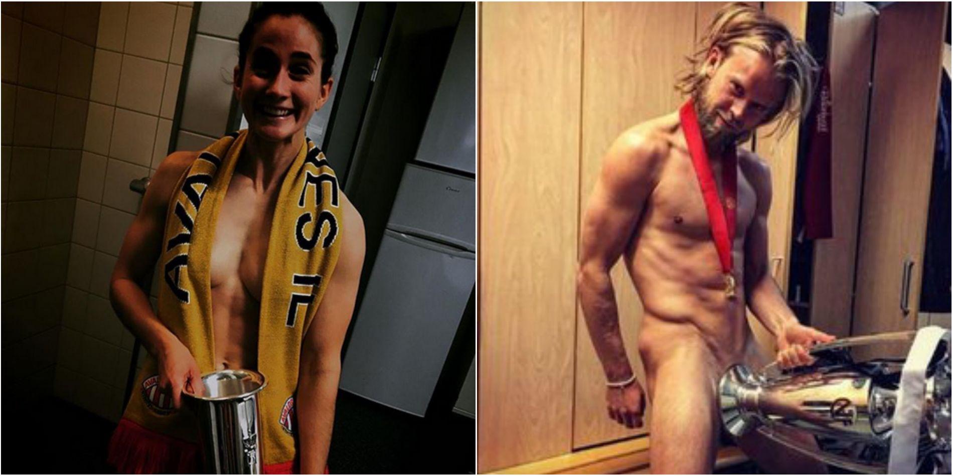 NAKENFEIRING: Slik feiret Ingrid Ryland og Christian Gytkjær sine triumfer med henholdsvis Avaldsnes og Rosenborg.