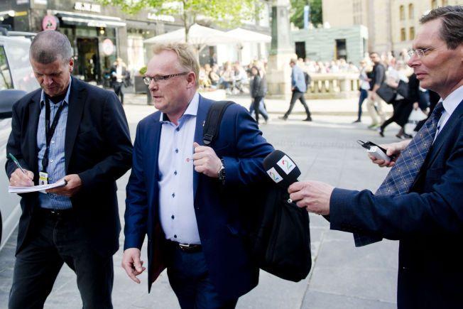 TRAKK SEG: Per Sandberg trakk seg fra en planlagt debatt med SVs Audun Lysbakken på Dagbladets direktesending mandag formiddag. Her ved en anledning tidligere i sommer.