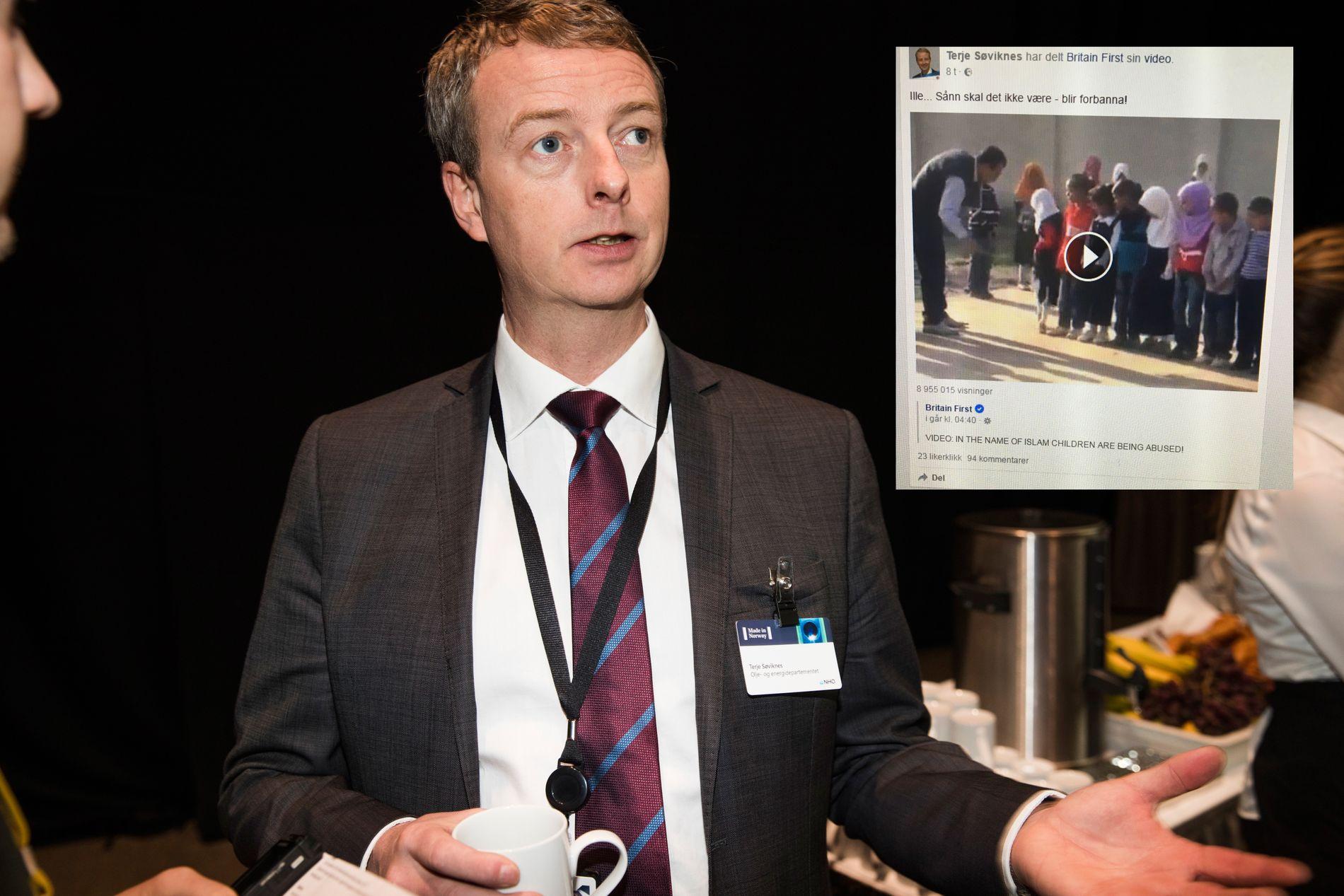 FACEBOOK-INNLEGG: Oljeminister Terje Søviknes delte en video formidlet av høyreradikale Britain First på Facebook. Her er statsråden avbildet under NHOs årskonferanse i Oslo i januar.