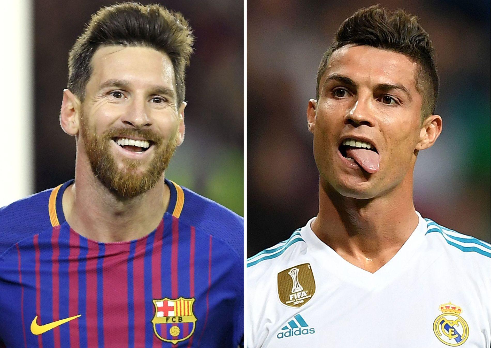 NESTEN I MÅL: Lionel Messi (til v.) og Cristiano Ronaldo, her begge avbildet i fjor for klubblagene Barcelona og Real Madrid.