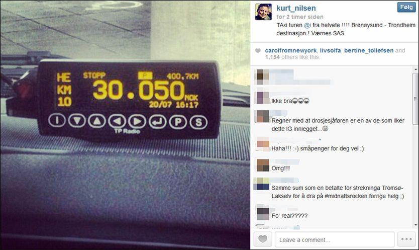 KORT ELLER KONTANT? Da taxituren fra Brønnøysund til Værnes endelig var over, la Kurt Nilsen ut et bilde av taksameteret. Bildet fra Instagram-kontoen hans er brukt med tillatelse. Foto: Kurt Nilsen