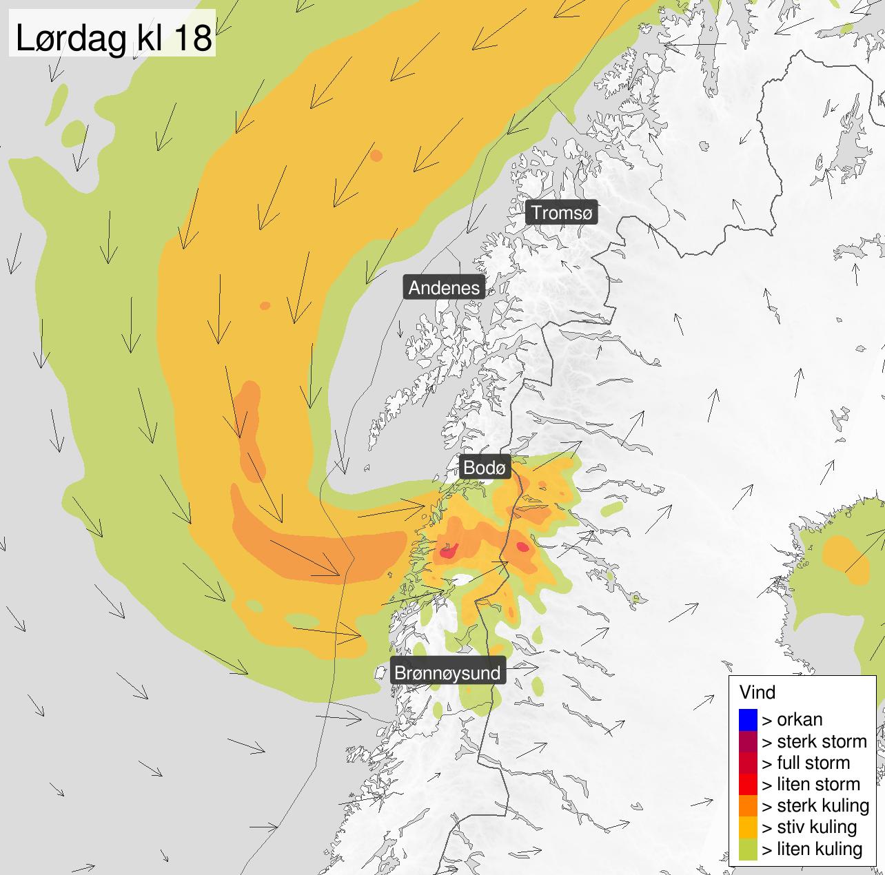KULING: Illustrasjonen viser hvordan vinden, med stiv kuling i styrke, vil treffe Nordland klokken 18 lørdag.