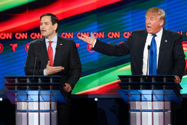ANGREP: Senator i Florida, Marco Rubio angrep forretningsmann Donald Trump for lempfeldig omgang med arbeidstakerrettigheter under en debatt ved Universitetet i Houston, 25. februar.