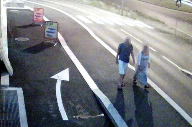 FANGET OPP: Dette bildet er hentet fra en overvåkningsvideo og viser Linn Madelen Bråthen (33) og den tiltalte eks-politimannen like før Bråthen døde. Foto: POLITIET