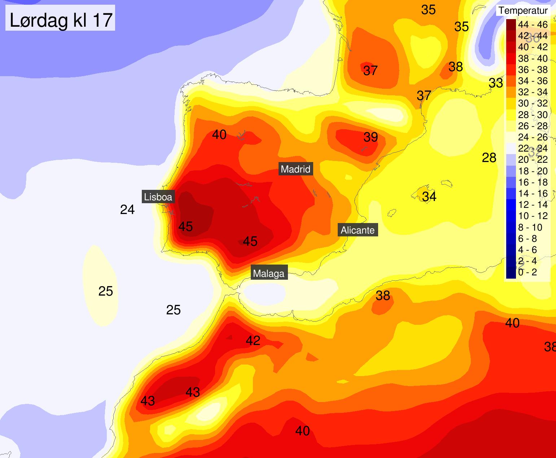 ILDRØDT: Sør-Europa, særlig Spania og Portugal, venter ekstreme temperaturer fredag og lørdag.