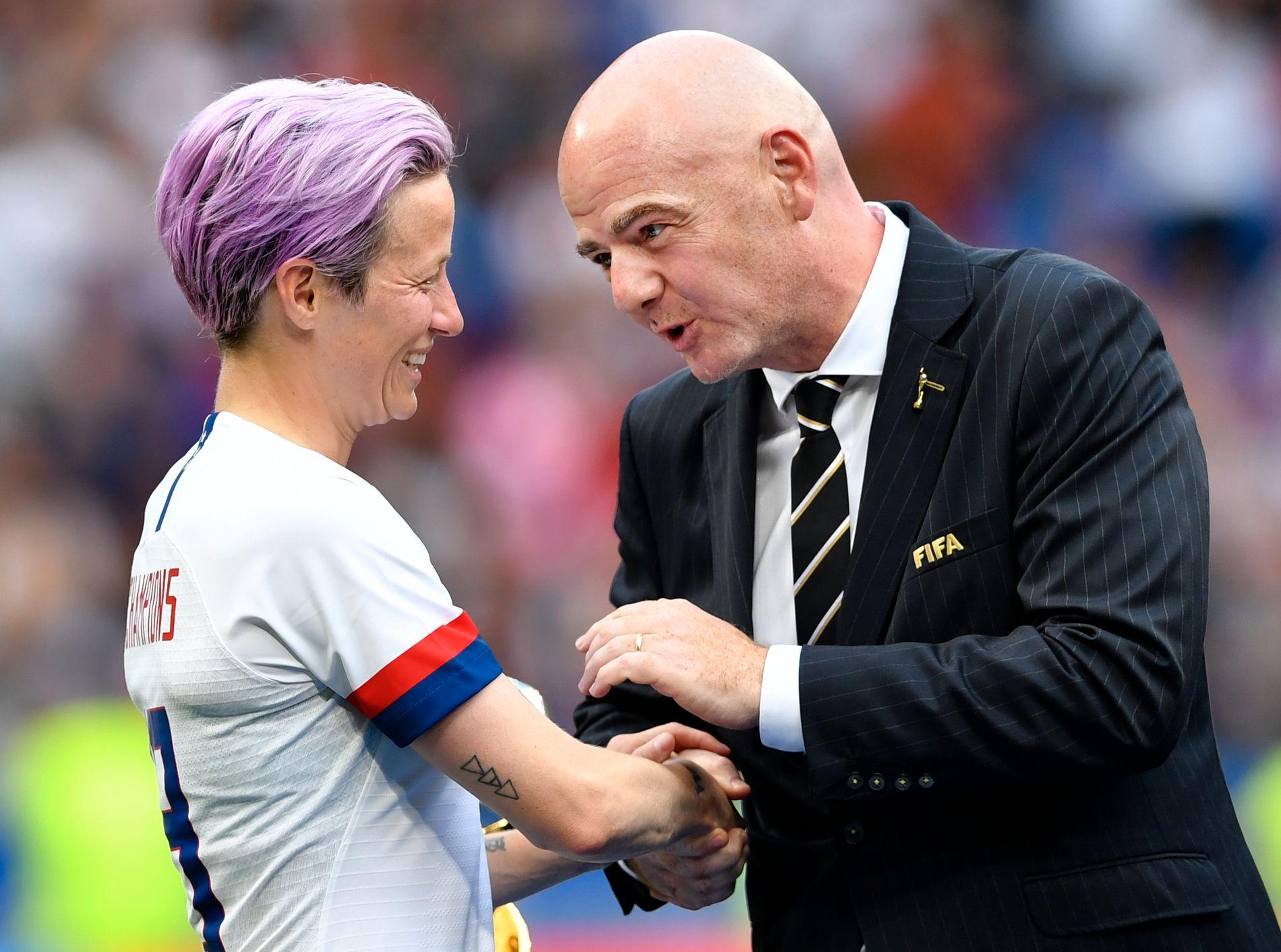 VIL HA SVAR: Megan Rapinoe mener FIFA og Gianni Infantino må gjøre mer for kvinnelige fotballspillere.