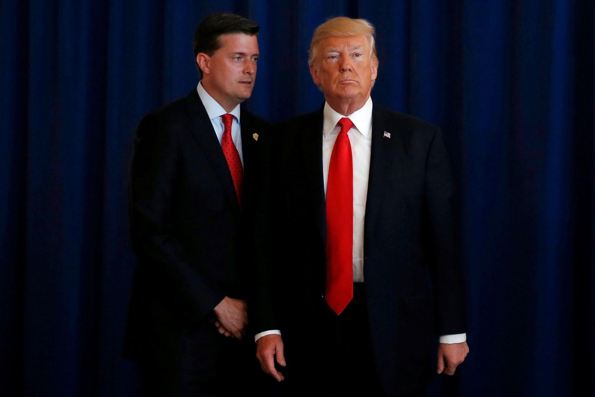 SKILTE LAG: Rob Porter var sekretær for Donald Trumps stab i Det hvite hus. Her er de sammen i august 2017.