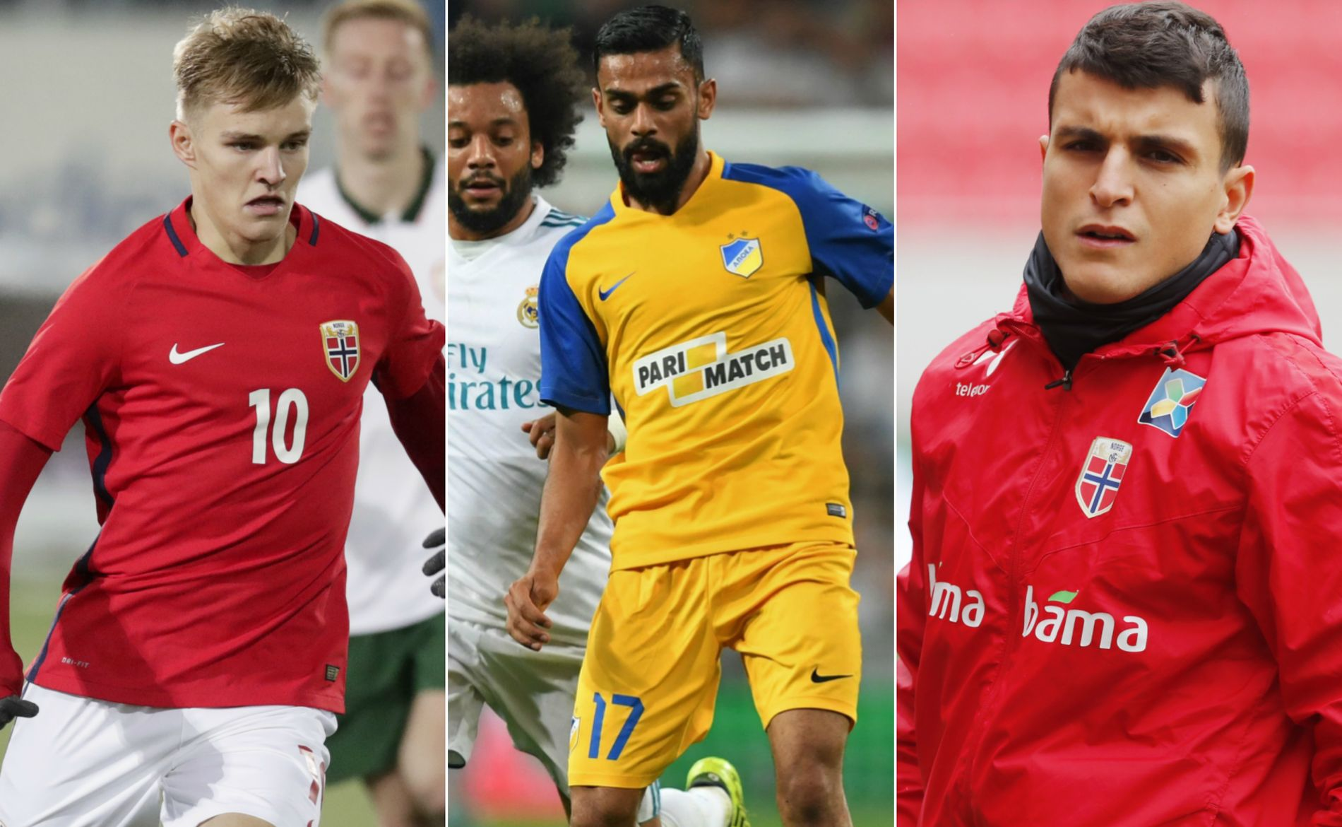 HERJET: Martin Ødegaard (f.v.), Ghayas Zahid og Moi Elyounoussi briljerte for sine klubblag denne helgen.