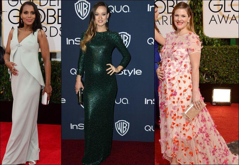 GHRAVIDE: F.v.: Kerry Washington, Olivia Wilde og Drew Barrymore på rød løper. Foto: AFP og AP