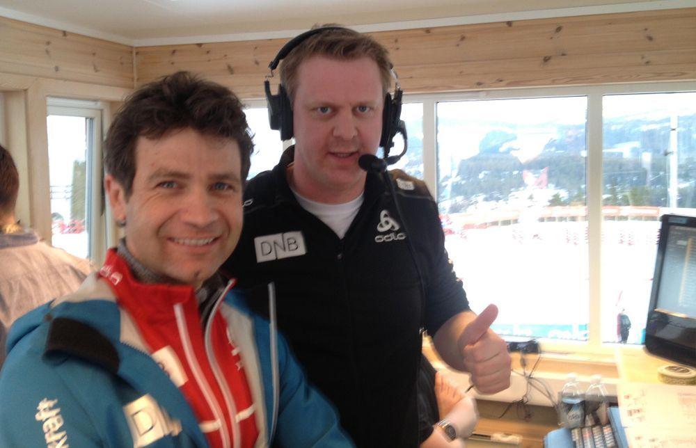 SKISKYTTERPROFILER: Ole Einar Bjørndalen (t.v.) og Ole Kristian Stoltenberg har tidligere konkurrert sammen. Dette bildet ble tatt for noen år siden.