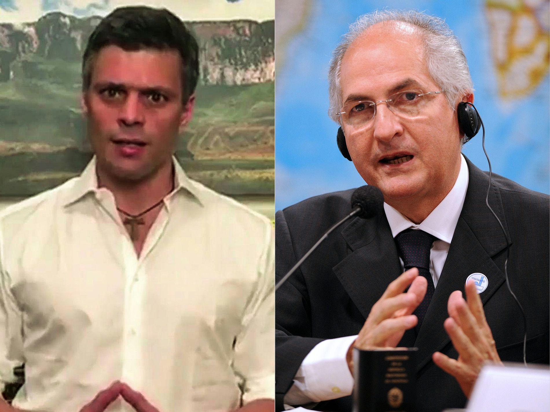 Pågrepet: De to opposisjonslederne Leopoldo Lopez (t.v.) og Antonio Ledezma (t.h) skal ha blitt hentet ut fra sine hjem av sikkerhetstjenesten i Venezuela.
