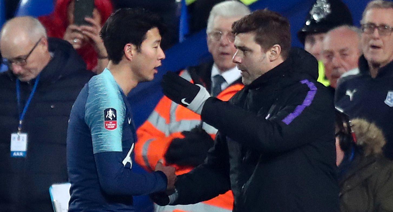 FORMSPILLER: Son (t.v.) er Tottenhams store formspiller. Her sammen med Spurs-manager Mauricio Pochettino.