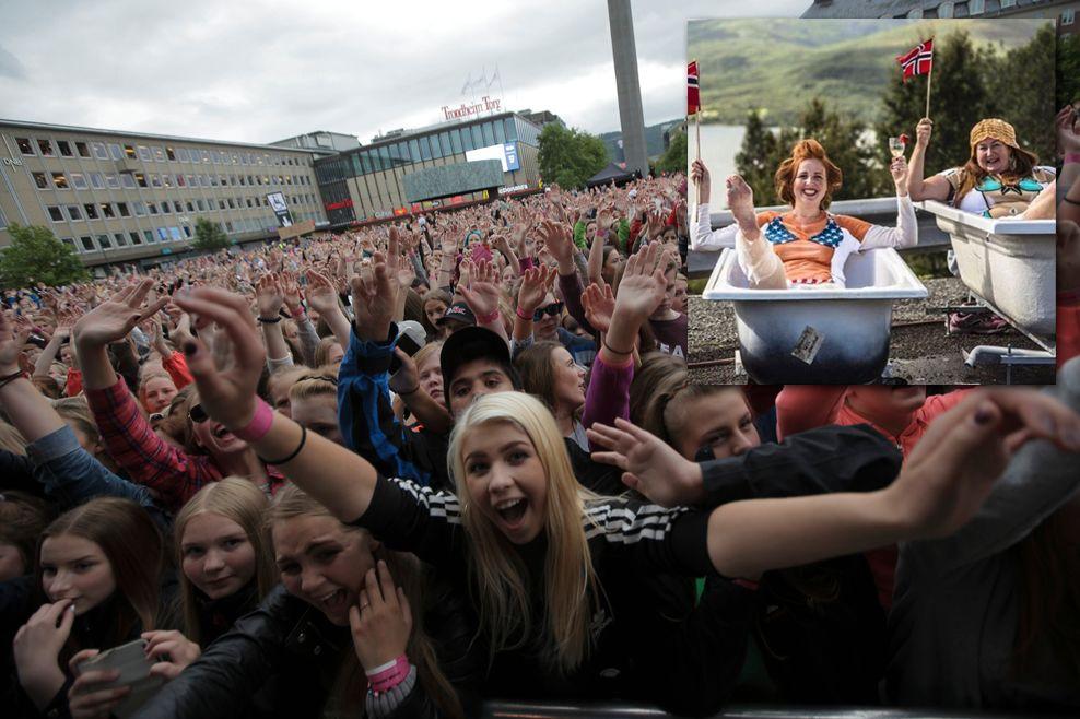 KLARE FOR FEST: Bente Johnsen og damene i Evenskjær (innfelt) håper å få VG-lista til sitt sted. Publikum fra Trondheim i 2015 viser hvor stas konsertene er.